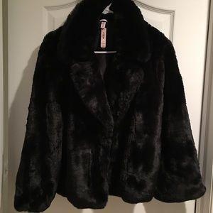 BRAND NEW VICTORIA'S SECRET BLACK FUR COAT